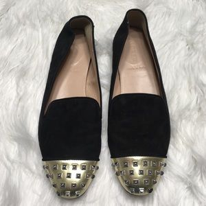 J Crew black Darby loafers with studded gold toe